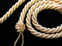 2 Rope curtain tiebacks - Peach  -  slender slinky cord  drape tie hold backs